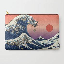 The Great Wave of Pugs / Square Carry-All Pouch