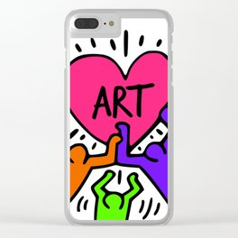 """Keith Haring inspired """"I Love Art"""" Secondary Colors edition Clear iPhone Case"""