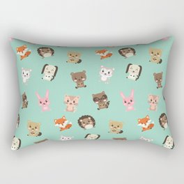 Cute Critters Funny Happy Forest Animal Friends Rectangular Pillow