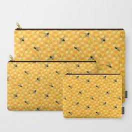 Bees on Honeycomb Pattern Carry-All Pouch