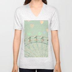 Ferris wheel nursery and heart bokeh on pale blue Unisex V-Neck