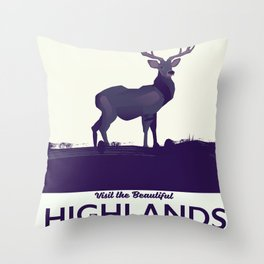 Scottish Highlands, Glencoe travel poster Throw Pillow