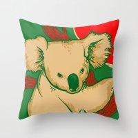 koala Throw Pillows featuring Koala by whiterabbitart