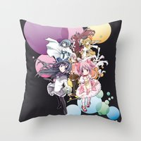 madoka magica Throw Pillows featuring Puella Magi Madoka Magica - Only You by Yue Graphic Design