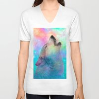 hobbes V-neck T-shirts featuring Breathing Dreams Like Air (Wolf Howl Abstract) by soaring anchor designs