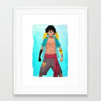 luffy Framed Art Prints featuring Luffy by Yvan Quinet