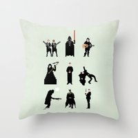 men Throw Pillows featuring Men in Black by Eric Fan