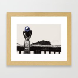 Newport Oregon - Telescope Business Framed Art Print