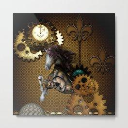 Steampunk, awesome steampunk horse Metal Print