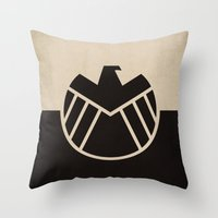 agents of shield Throw Pillows featuring Agents fo Shield by The Retro Inc