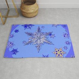 """BLUE SNOW ON SNOW"" BLUE WINTER ART Rug"