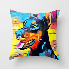 Doberman 5 Throw Pillow