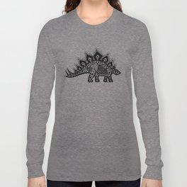 Stegosaurus Lace - Black / Grey Long Sleeve T-shirt