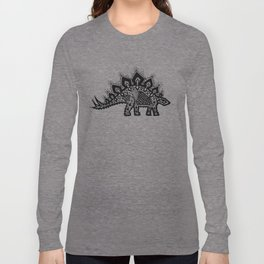 Stegosaurus Lace - Black / Grey Long Sleeve T-shirt