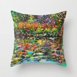 Hidden Peace - Oils with palette knife.   Throw Pillow