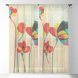 Exotic Watercolor Flower Sheer Curtain