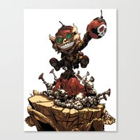 league of legends Canvas Prints featuring League of Legends Ziggs by Joel Cumpson