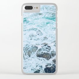 Static Sea Waves Clear iPhone Case