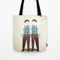 twins Tote Bags featuring TWINS by Nazario Graziano