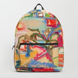 Scattered, an abstract expressionist, square, pastel painting. Backpack