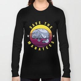 Manatee Aquatic Marine Mammals Herbivore Gift Save The Manatees Funny Animal  Long Sleeve T-shirt