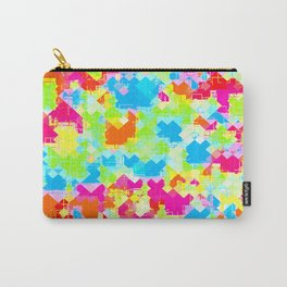 geometric pixel square pattern abstract in pink blue green orange Carry-All Pouch