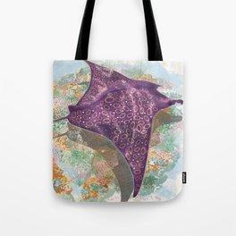 Colorful Ocean Manta Ray Tote Bag