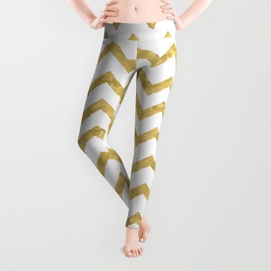 Chevron Gold And White Leggings