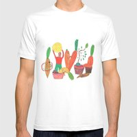 Vegetables Party. MEDIUM Mens Fitted Tee White