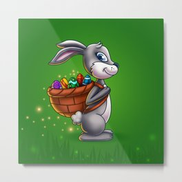 Easter Bunny Carrying A Basket Of Eggs - Digital Painting Metal Print
