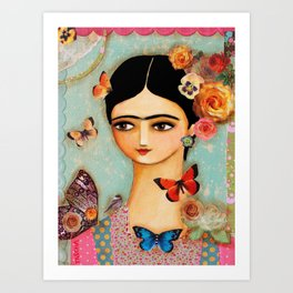 Frida Collage with Butterfly and Rose Art Print