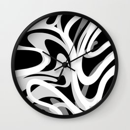 Finger Paint Swirls - Gray, Black and White Wall Clock