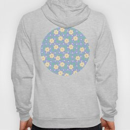 Yellow Flower Pattern with Blue Ornamental Background Hoody