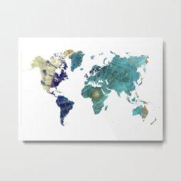 World Map Wind Rose Metal Print