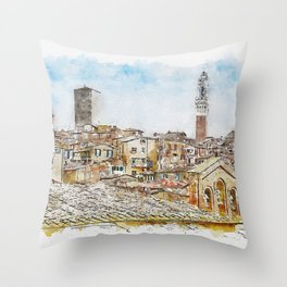 Aquarelle sketch art. View to the Siena roofs, Italy Throw Pillow