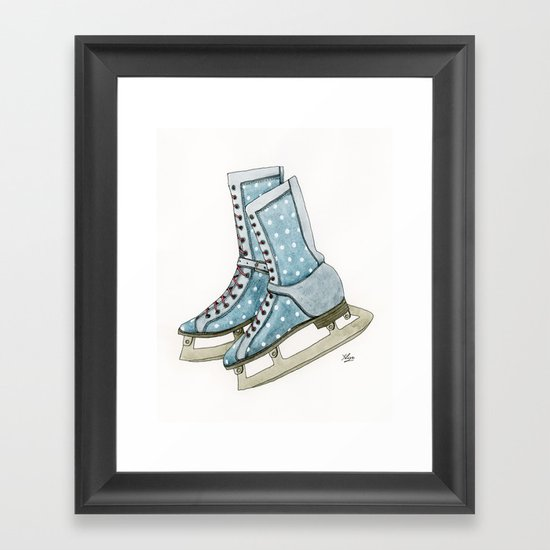 Polka dot ice skates Framed Art Print