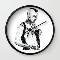 taxi driver Wall Clocks featuring Taxi Driver by Art & Ink