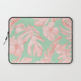 Tropical Palm Leaves Hibiscus Pink Mint Green Laptop Sleeve
