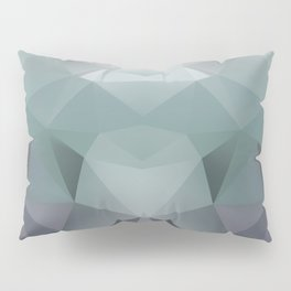Abstract geometric polygonal pattern in grey and green tones . Pillow Sham