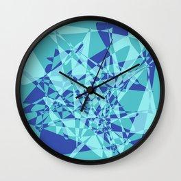Broken mirror 3 - Cool Blue Geometric Abstract Wall Clock