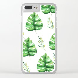 Green Split Leaf Seamless Pattern Clear iPhone Case