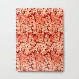 Jacobean Flower Damask, Mandarin and Light Orange Metal Print