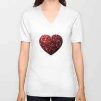 sparkles V-neck T-shirts featuring Red Glitter sparkles Heart  by PLdesign