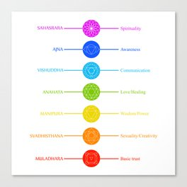 Chakra symbols with respective colors and what they stand for- Spiritual gifts Canvas Print