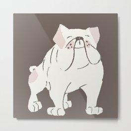 Cute Bulldog (White) Metal Print