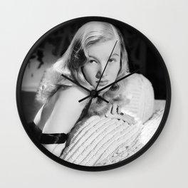 Veronica Lake, Hollywood Starlet black and white photograph / black and white photography Wall Clock
