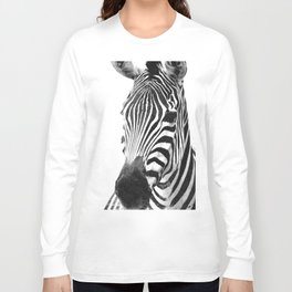 Black and white zebra illustration Long Sleeve T-shirt