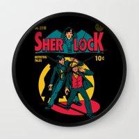 tintin Wall Clocks featuring Sherlock Comic by harebrained