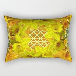 VIGNETTE OF YELLOW SPRING DAFFODILS GARDEN Rectangular Pillow