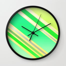 Shiny Stripes in Green and Yellow Wall Clock